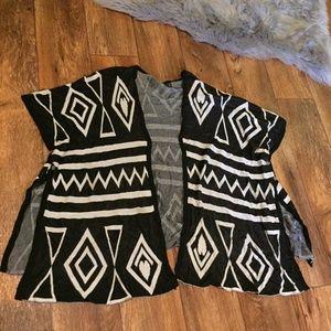 Zara Navajo Print Poncho Sweater Black White